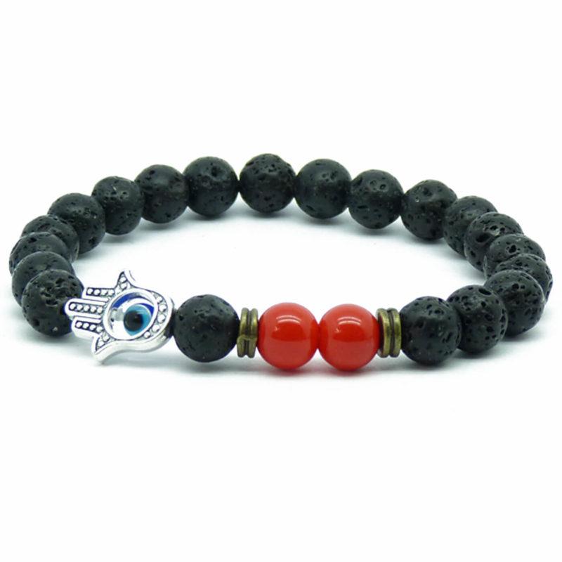 Silver Hamsa Hand Passion & Calmness Bracelet | Black Lava & Red Beads