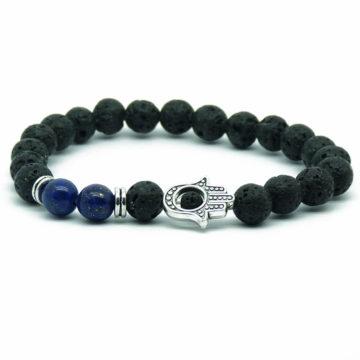 Hamsa Hand Positive Approach & Calmness Bracelet | Blue Agate & Lava Stones