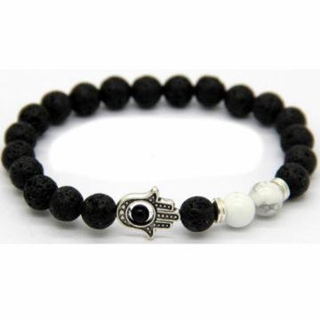Silver Hamsa Hand Emotional Calmness Bracelet | Lava & Howlite Stone Beads