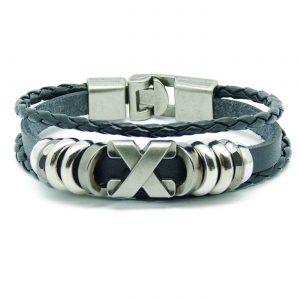 Cross Charm Beaded Vintage Leather Bracelet For Men - Black