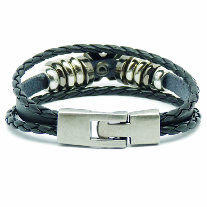 Cross Charm Beaded Vintage Leather Bracelet For Men - Black