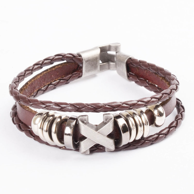 Cross Charm Beaded Vintage Leather Bracelet For Men - Brown