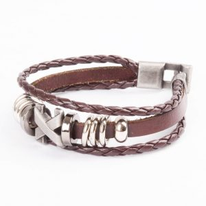 Cross Charm Beaded Vintage Leather Bracelet For Men - Brown 2