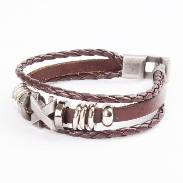 Cross Charm Beaded Vintage Leather Bracelet For Men - Brown