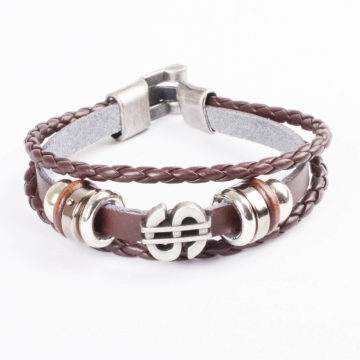 Dollar Charm Beaded Vintage Leather Bracelet For Men - Brown