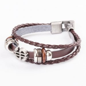 Dollar Charm Beaded Vintage Leather Bracelet For Men - Brown 2