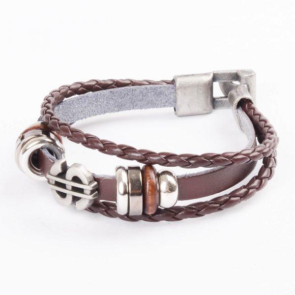 Dollar Charm Beaded Vintage Leather Bracelet For Men - Brown