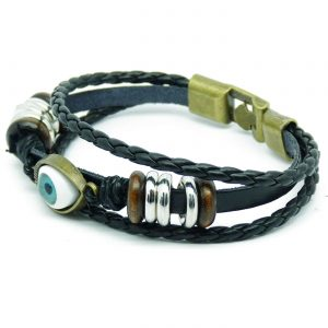 Beaded Blue Evil Eye Leather Bracelet For Men - Black 2