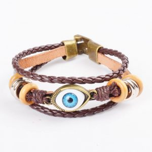 Beaded Blue Evil Eye Leather Bracelet For Men - Brown