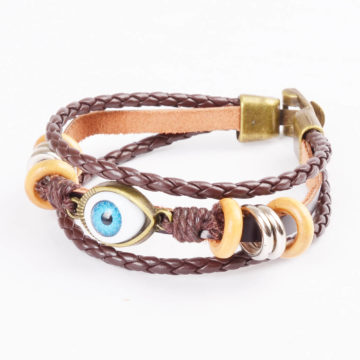 Beaded Blue Evil Eye Leather Bracelet For Men - Brown 2