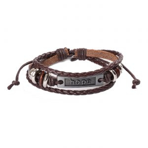 Hope Beaded Adjustable Leather Bracelet For Men - Brown
