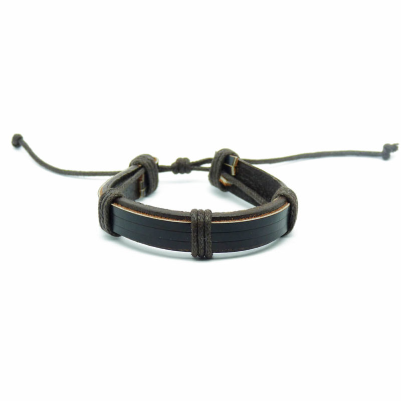 Adjustable Leather And Wooden Beads Bracelet Stack - Brown