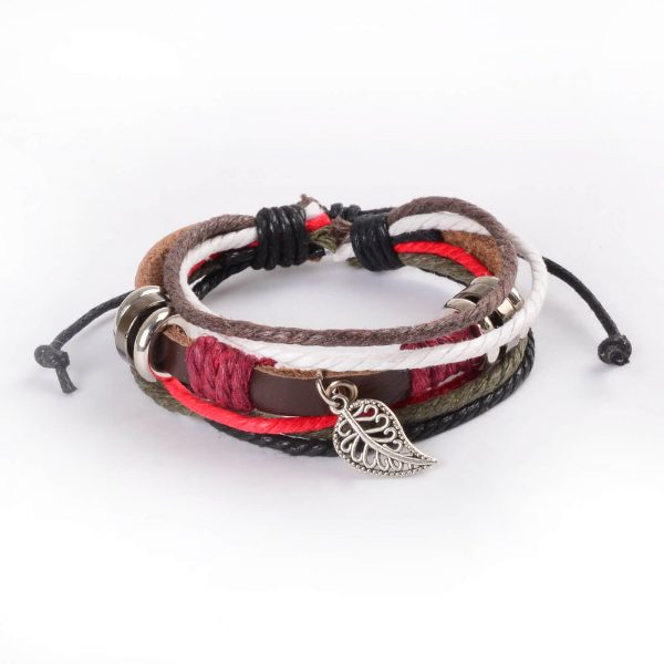 Adjustable Leather and Rope Bracelet with Silver Leaf Charm and Beads