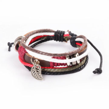 Adjustable Leather and Rope Bracelet with Silver Leaf Charm and Beads 2