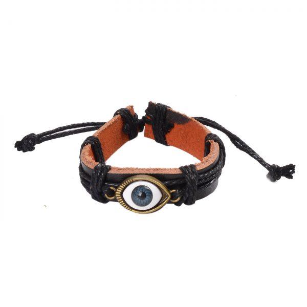 Adjustable Blue Evil Eye Leather Bracelet - Black