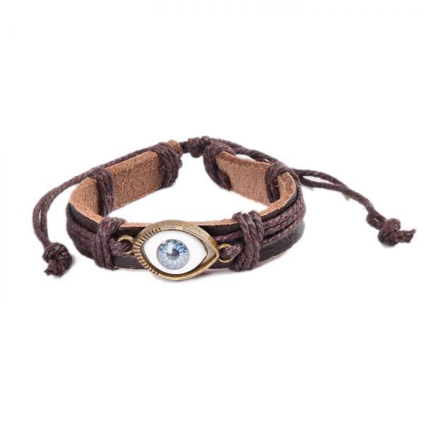 Adjustable Blue Evil Eye Leather Bracelet - Brown