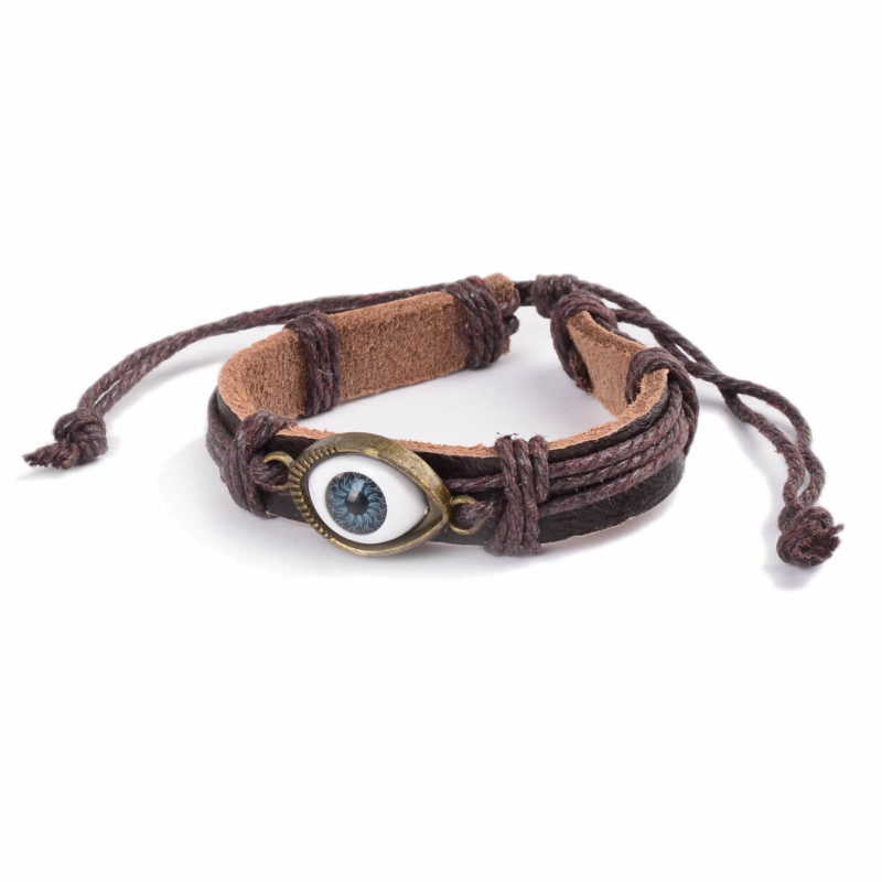 Adjustable Blue Evil Eye Leather Bracelet - Brown