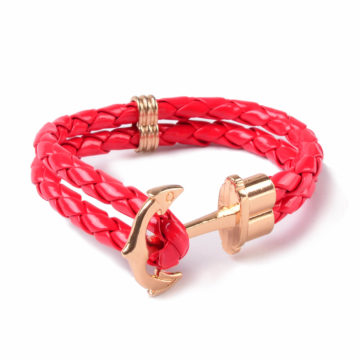 Friendship Leather Bracelet With Golden Anchor - Red