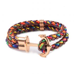 Friendship Leather Bracelet With Golden Anchor - Multi