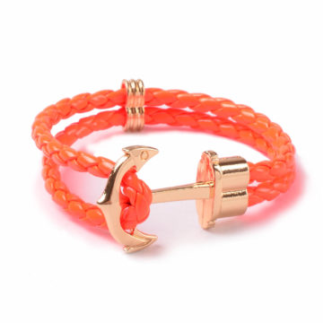Friendship Leather Bracelet With Golden Anchor - Orange