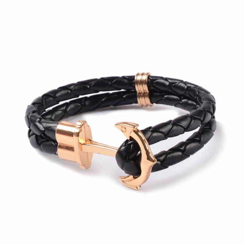 Friendship Leather Bracelet With Golden Anchor - Black