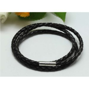 Braided Triple Wrap Genuine Leather Bracelet - Black 2