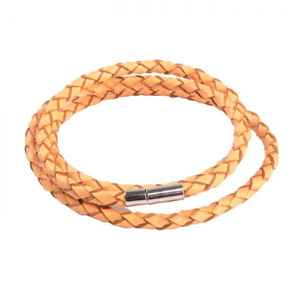 Braided Triple Wrap Genuine Leather Bracelet - Tan