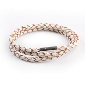 Braided Triple Wrap Genuine Leather Bracelet - White