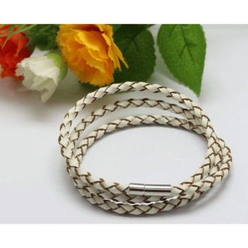 Braided Triple Wrap Genuine Leather Bracelet - White 2