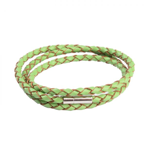 Braided Triple Wrap Genuine Leather Bracelet - Green