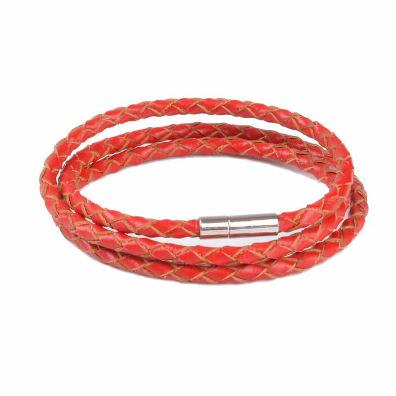 Braided Triple Wrap Genuine Leather Bracelet - Red