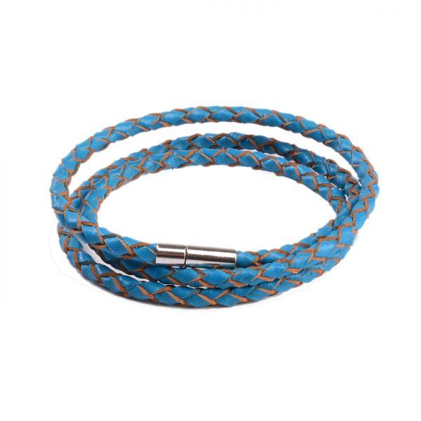 Braided Triple Wrap Genuine Leather Bracelet - Blue