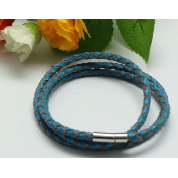 Braided Triple Wrap Genuine Leather Bracelet - Blue 2
