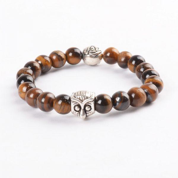 Silver Owl Harmony & Protection Bracelet | Tiger Eye Stone Beads