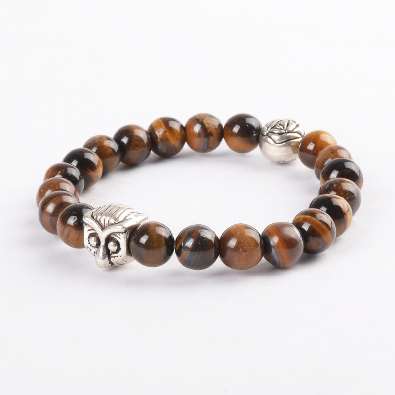Silver Owl Harmony & Protection Bracelet | Tiger Eye Stone Beads