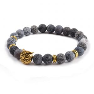 Golden Owl Emotional Stability Bracelet | Frosted Veins Stone Beads 2
