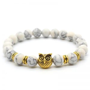 Golden Owl Ambitious Progress Bracelet | White Howlite Stone Beads