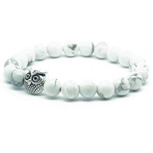 Silver Owl Ambitious Progress Bracelet | White Howlite Stone Beads 2