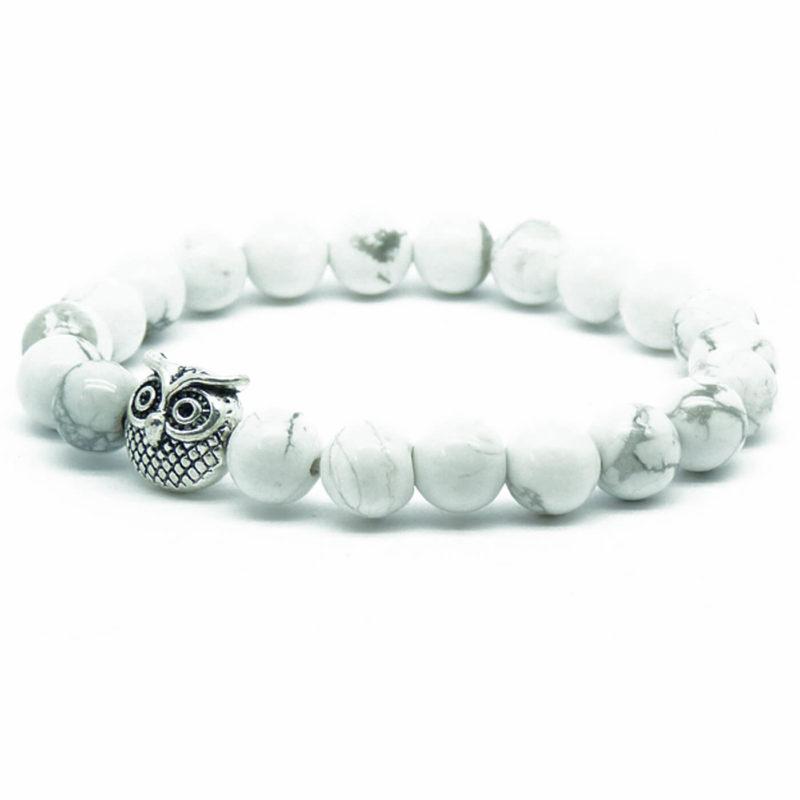 Silver Owl Ambitious Progress Bracelet | White Howlite Stone Beads