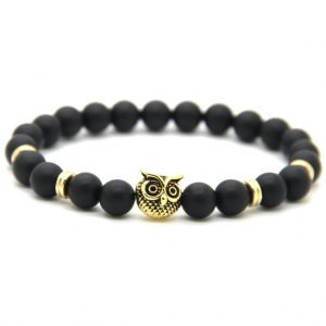 Golden Owl Courage & Protection Bracelet | Matte Black Agate Stone Beads