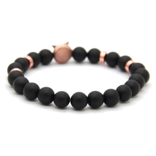 Rose Gold Owl Courage & Protection Bracelet | Matte Black Agate Stone Beads