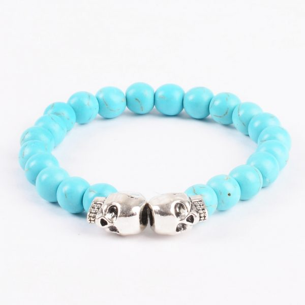 Double Silver Skulls Honesty and Friendship Bracelet | Turquoise Stone Beads