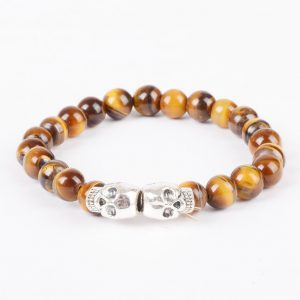 Double Silver Skulls Strength & Stealth Bracelet | Tiger Eye Stone Beads