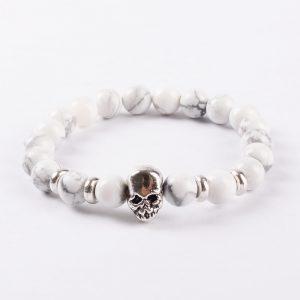 Double Silver Skulls Ambitious Progress Bracelet | Howlite Stone Beads