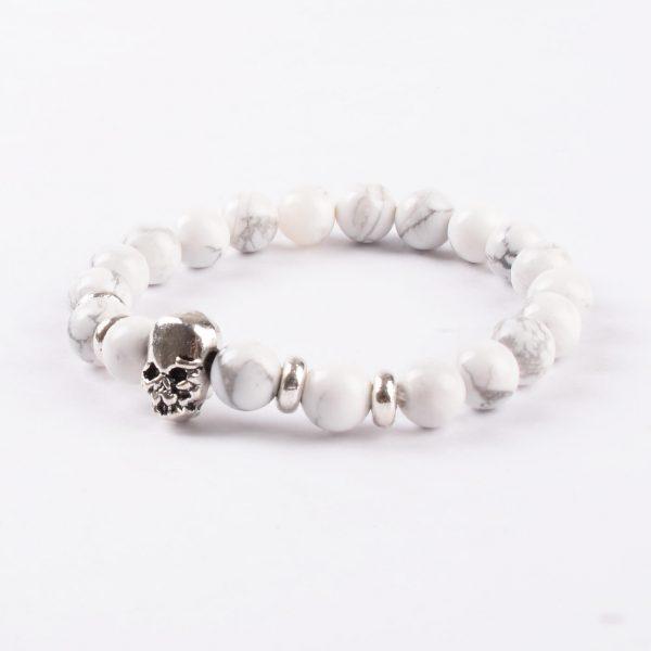 Double Silver Skulls Ambitious Progress Bracelet   Howlite Stone Beads
