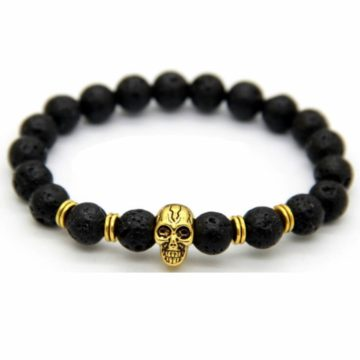 Golden Skull Emotional Calmness Healing Bracelet | Black Lava Stone Beads