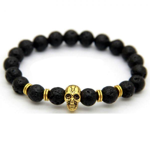 Golden Skull Emotional Calmness Healing Bracelet | Black Lava Stone Beads