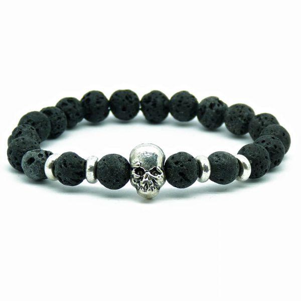 Silver Skull Emotional Calmness Healing Bracelet | Black Lava Stone Beads