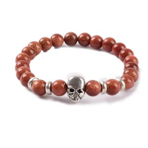 Silver Skull No Fear Bracelet | Gold Sand Stones Beads