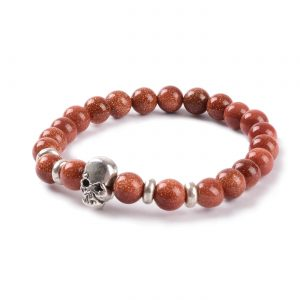 Silver Skull No Fear Bracelet | Gold Sand Stones Beads 2